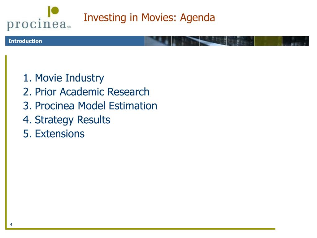 Investing in Movies: Agenda