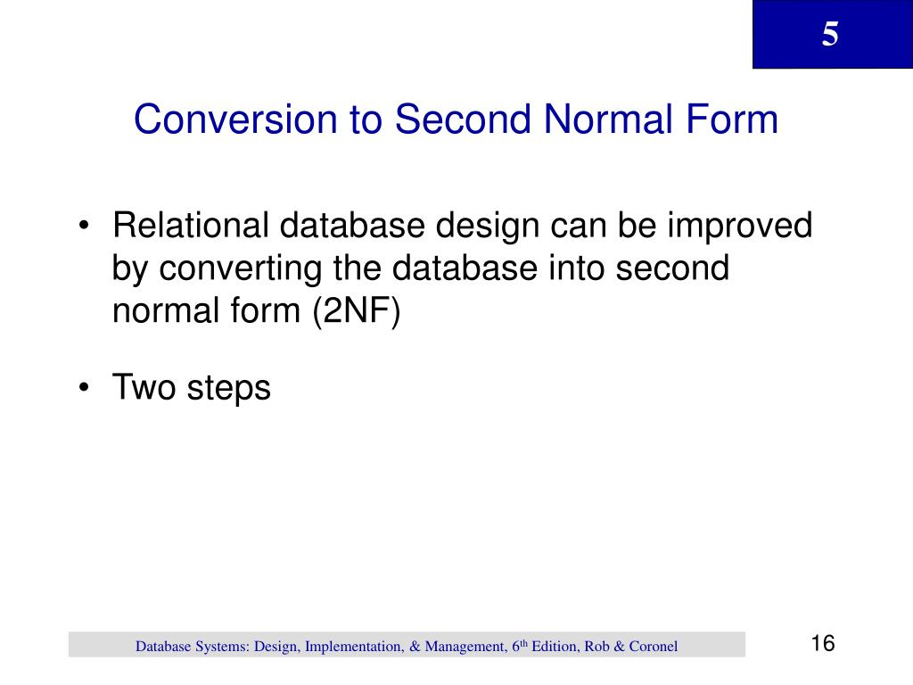 Conversion to Second Normal Form