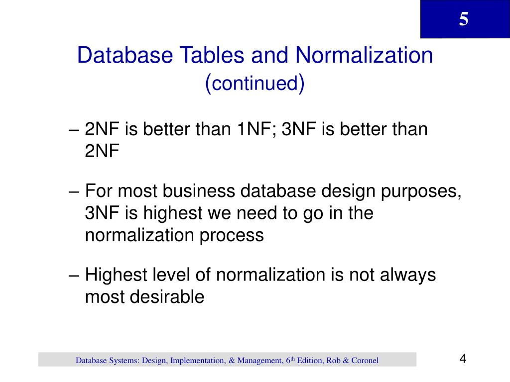 Database Tables and Normalization (