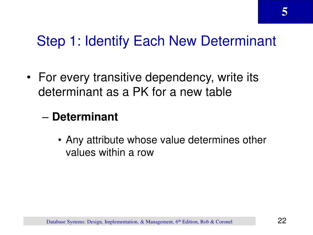 Step 1: Identify Each New Determinant