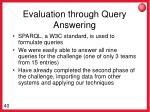 evaluation through query answering