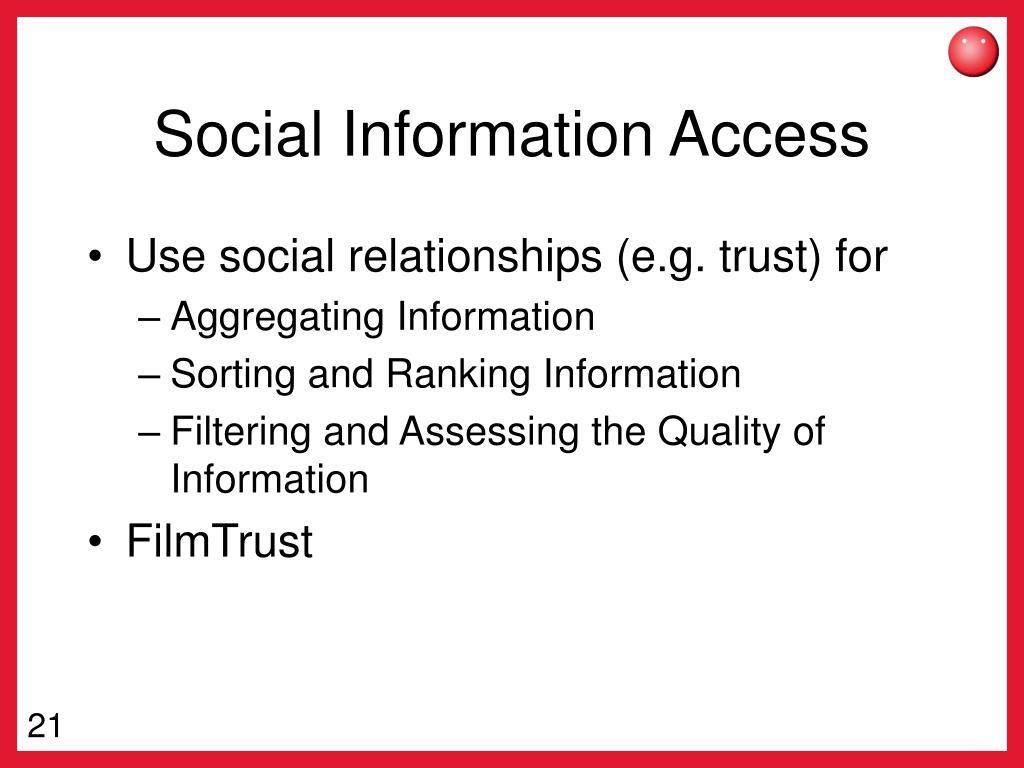 Social Information Access