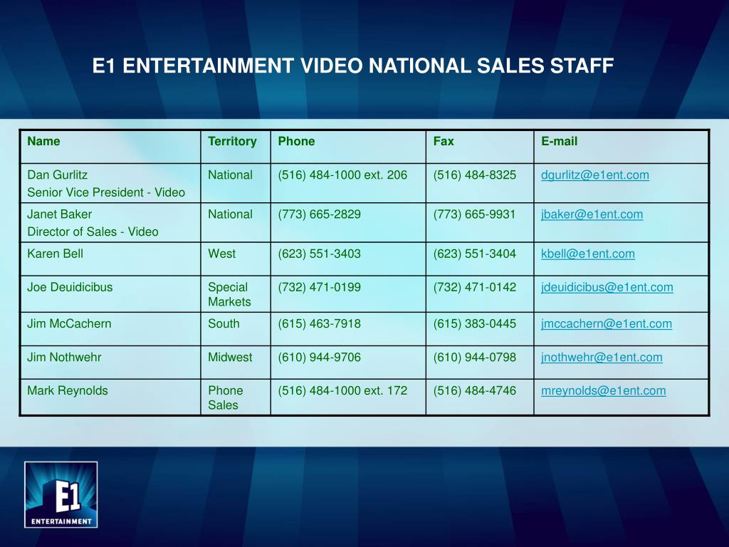 E1 ENTERTAINMENT VIDEO NATIONAL SALES STAFF