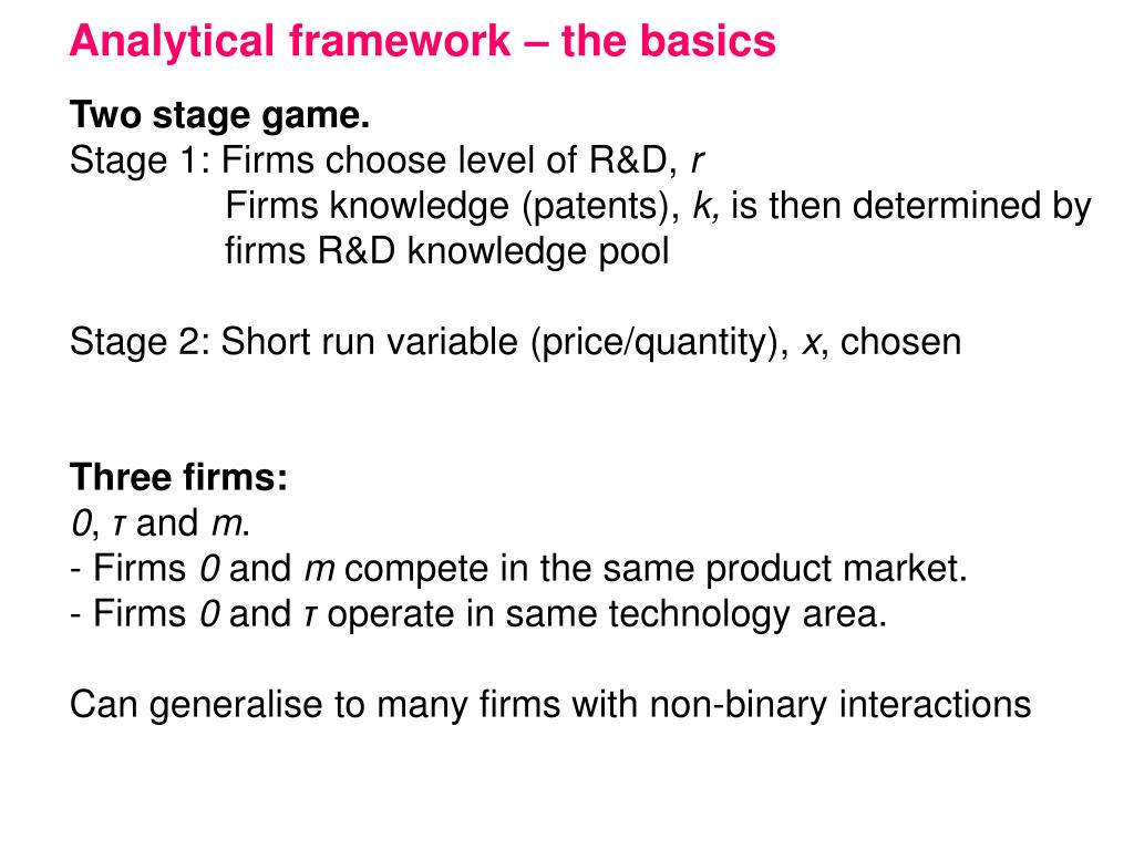 Analytical framework – the basics