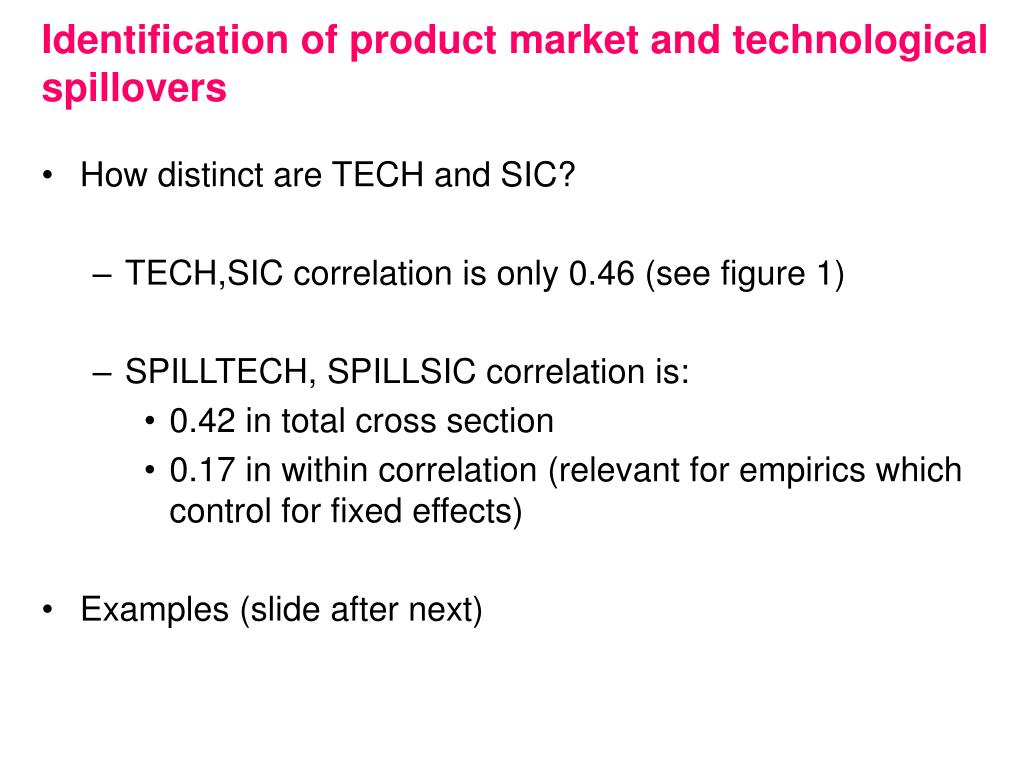 Identification of product market and technological spillovers