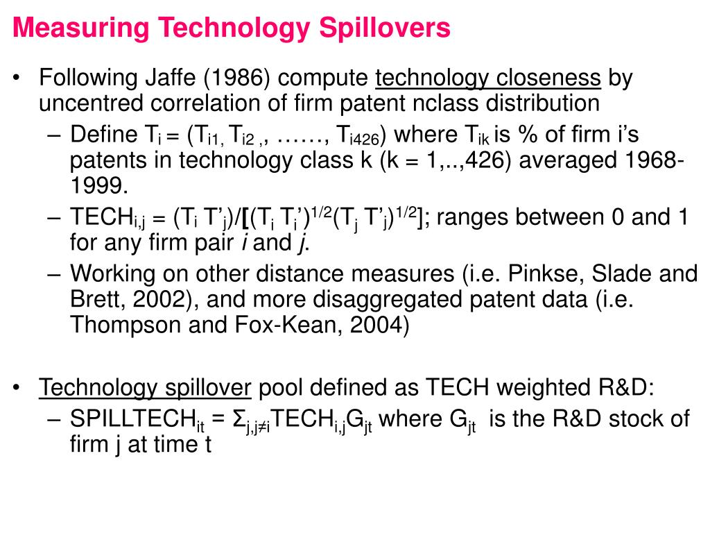 Measuring Technology Spillovers