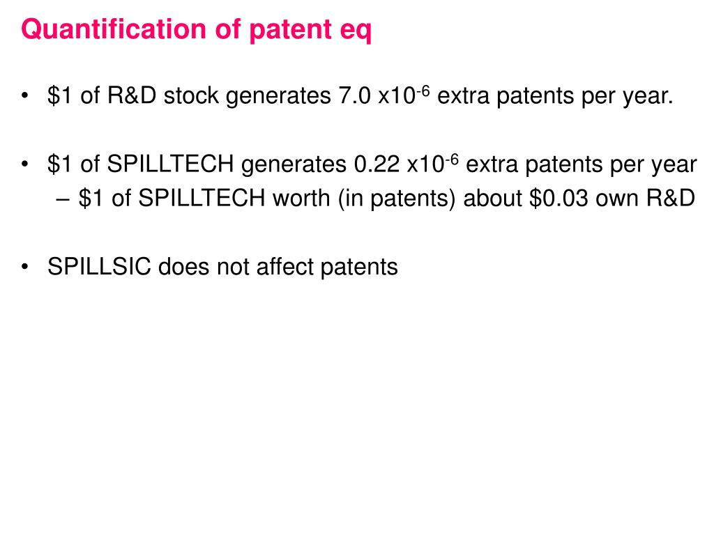 Quantification of patent eq