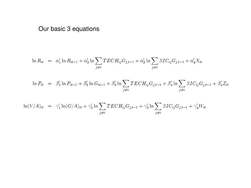 Our basic 3 equations
