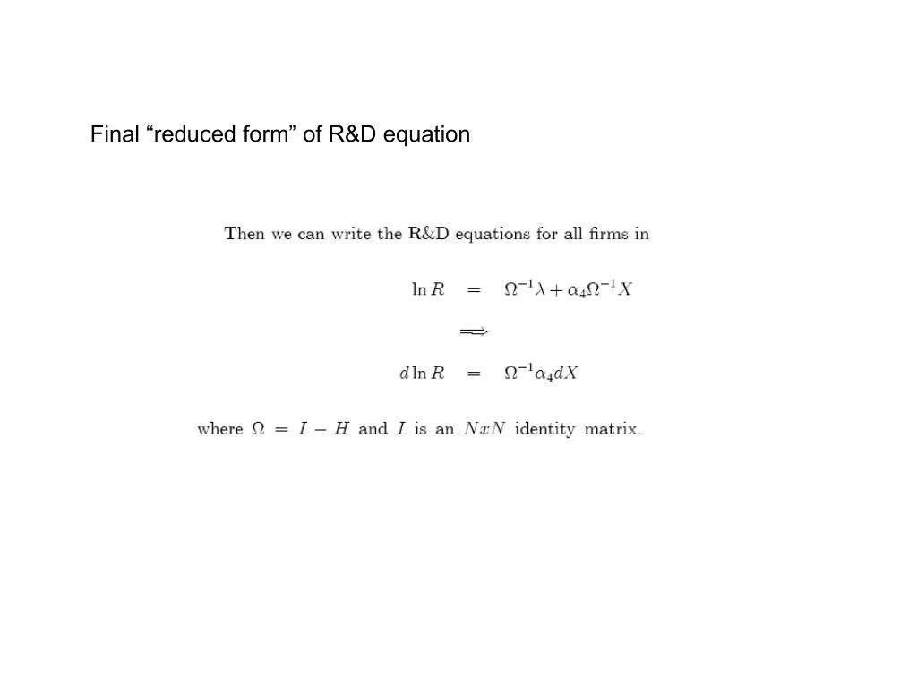 "Final ""reduced form"" of R&D equation"