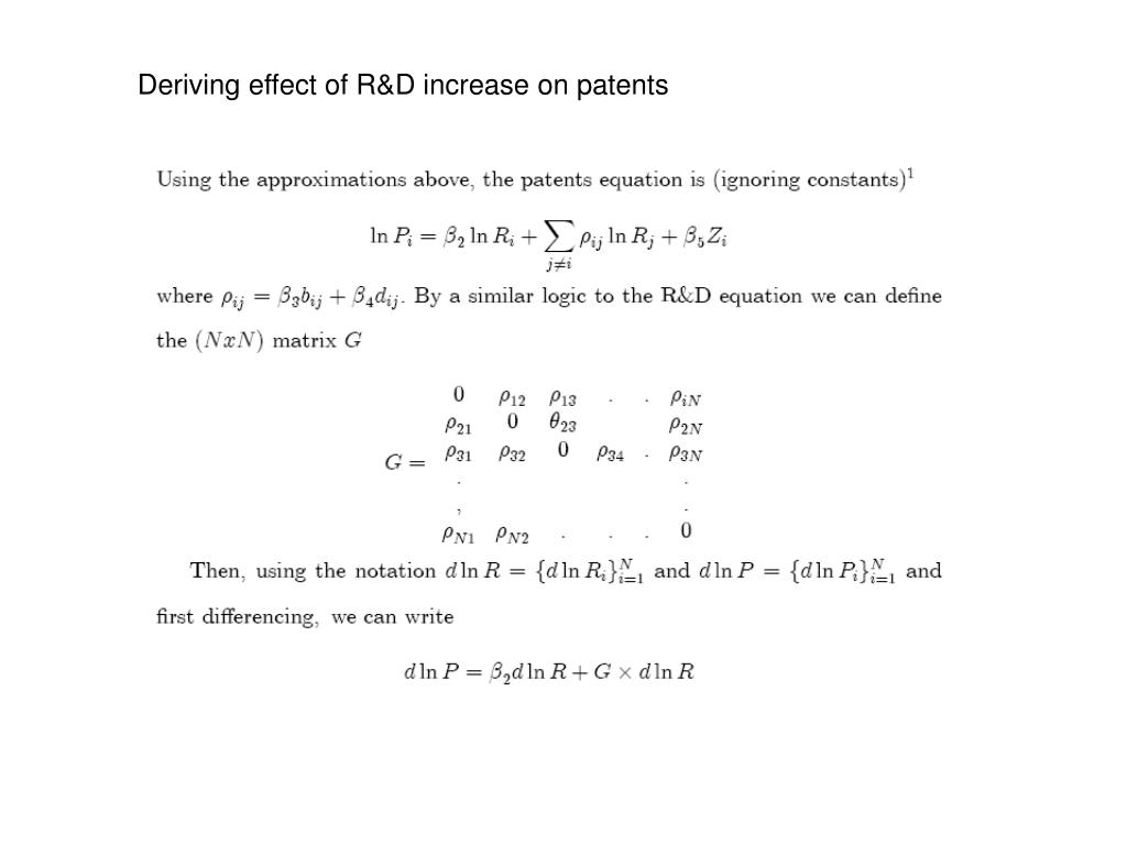 Deriving effect of R&D increase on patents