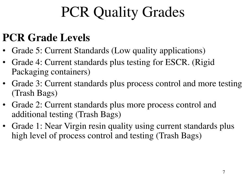 PCR Quality Grades