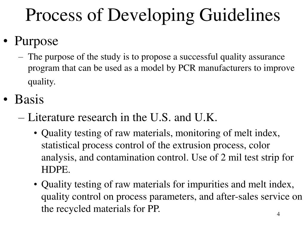 Process of Developing Guidelines