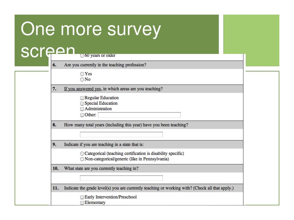 One more survey screen