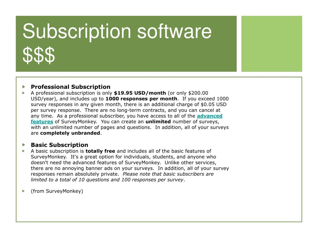 Subscription software $$$