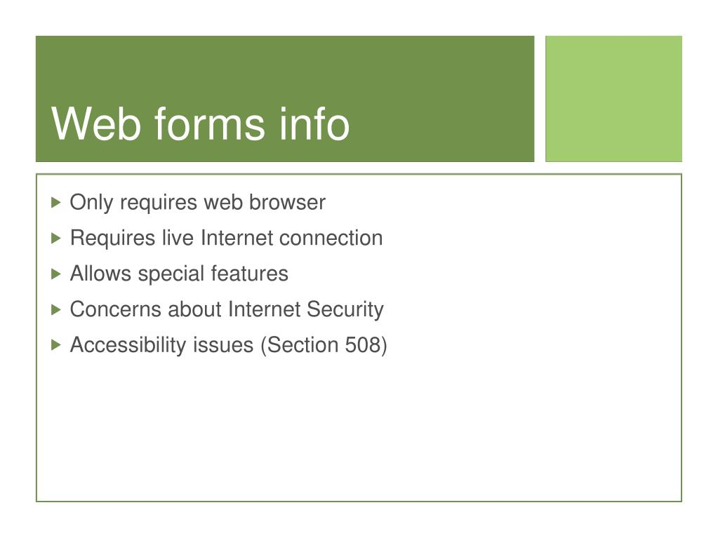 Web forms info