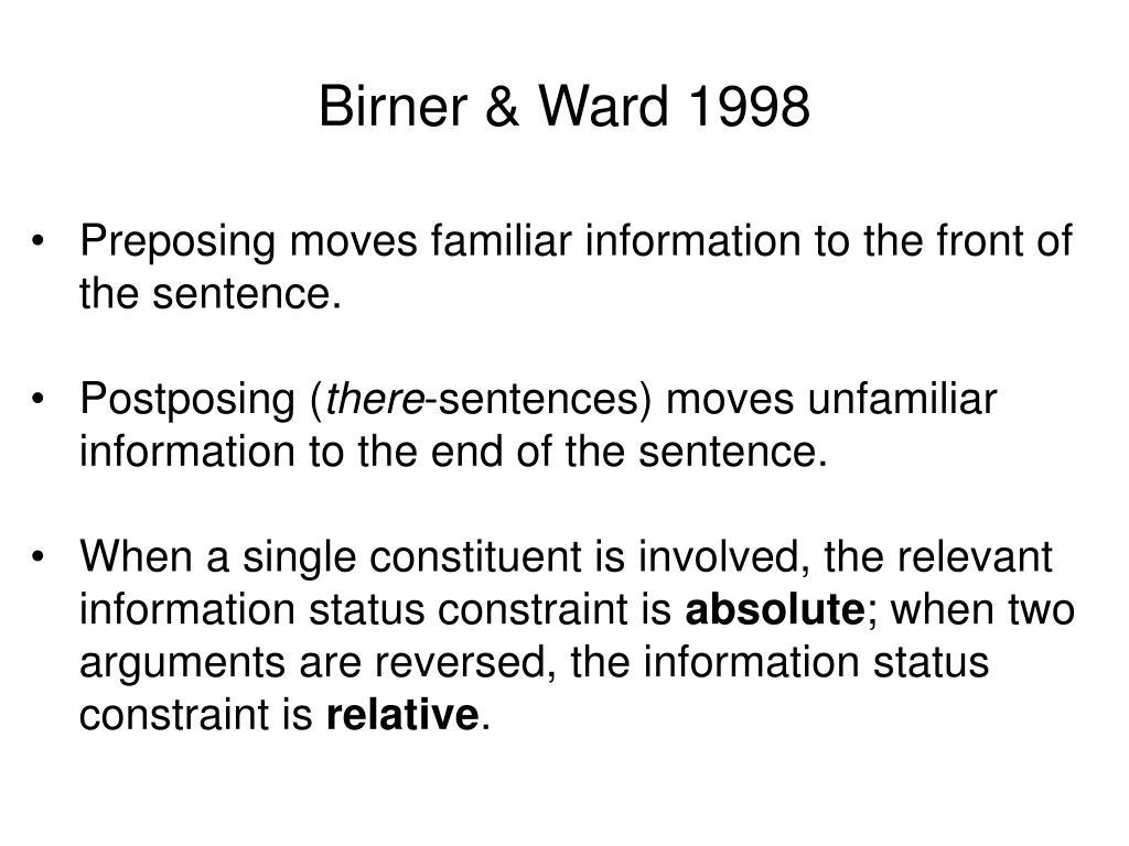 Birner & Ward 1998