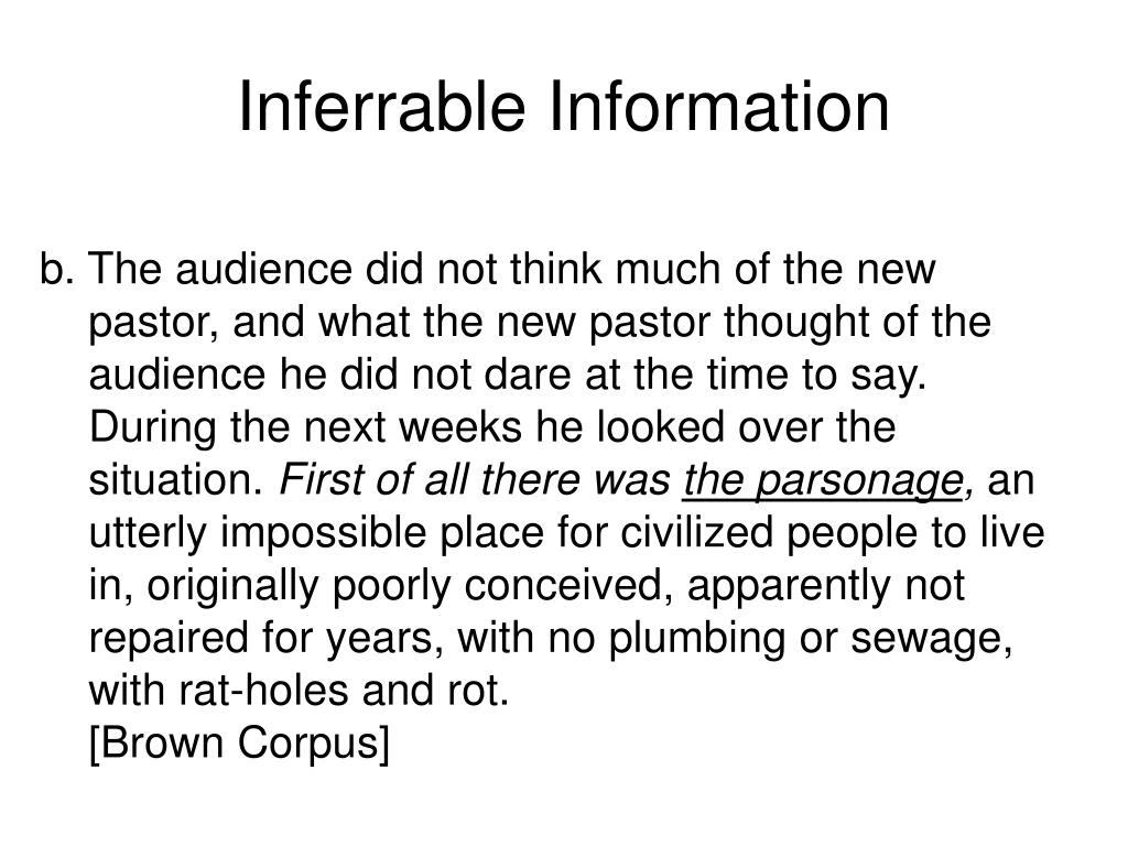 Inferrable Information
