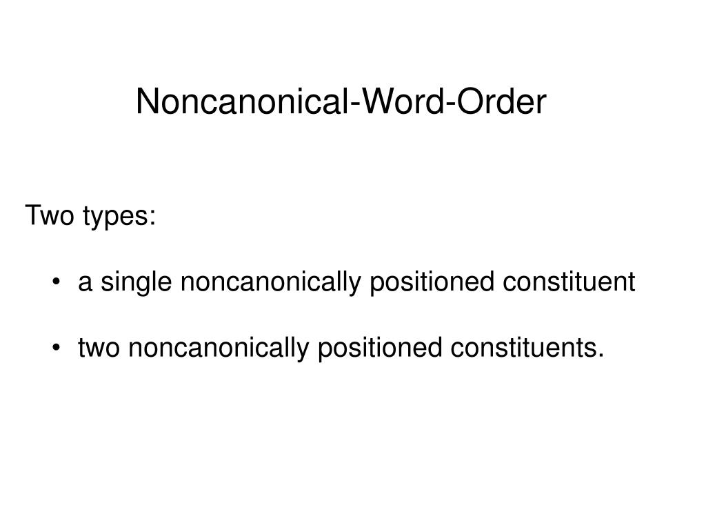 Noncanonical-Word-Order