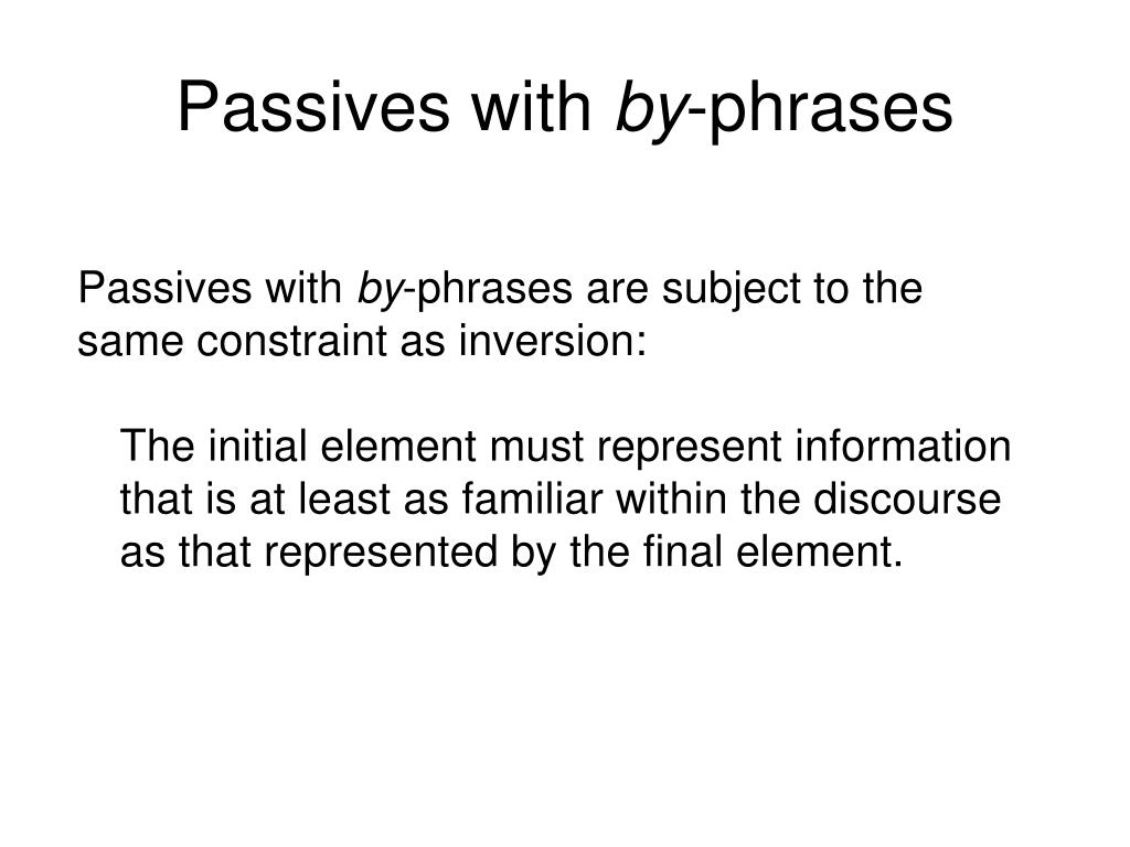 Passives with