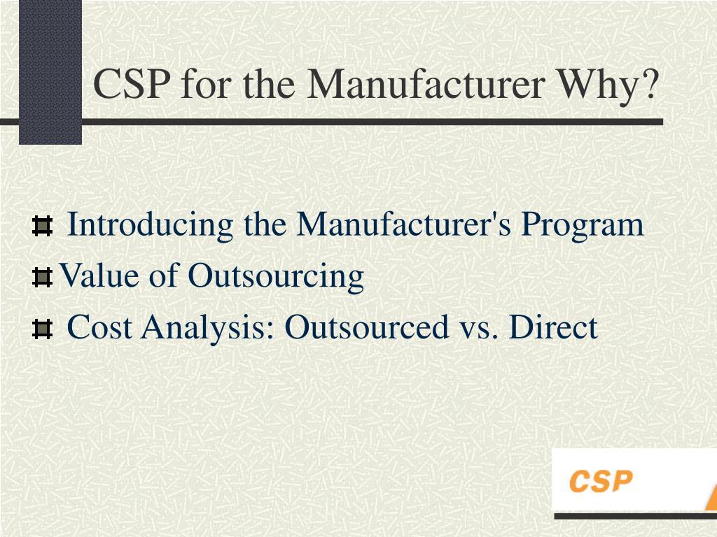 Introducing the Manufacturer's Program