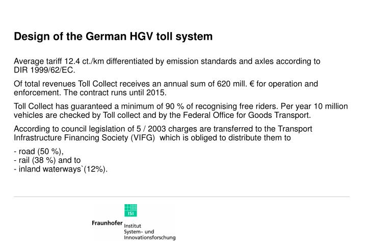 Design of the german hgv toll system