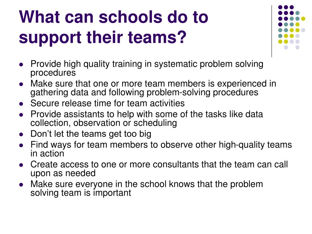 What can schools do to support their teams?