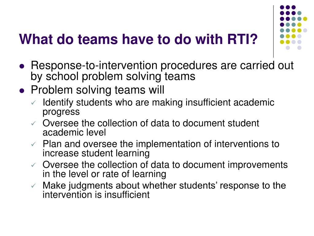 What do teams have to do with RTI?