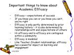 important things to know about academic efficacy