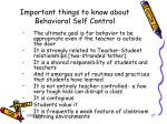 important things to know about behavioral self control