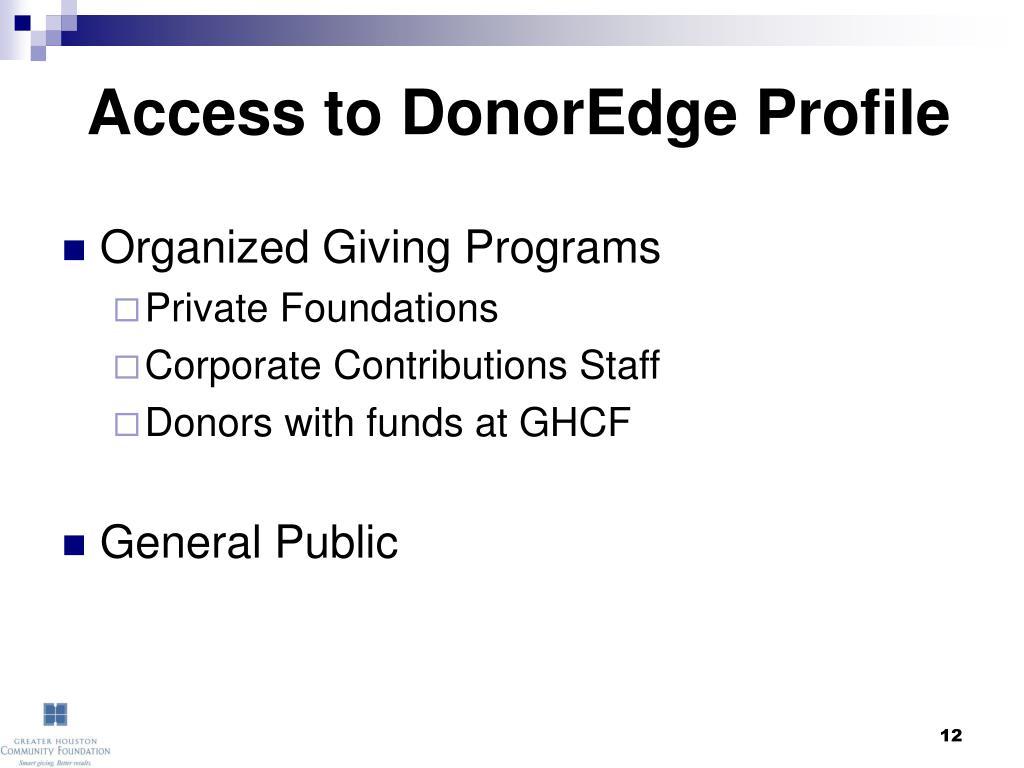 Access to DonorEdge Profile