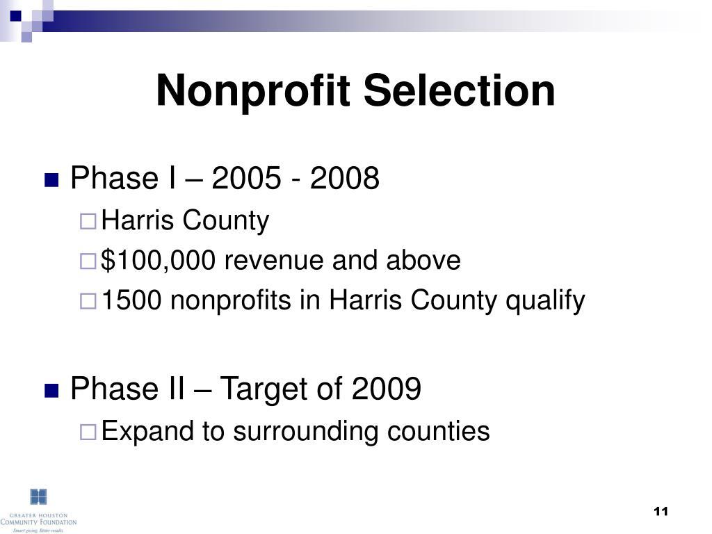 Nonprofit Selection