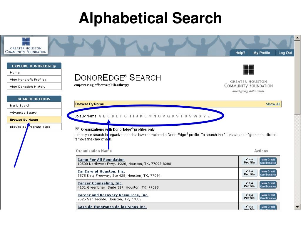 Alphabetical Search