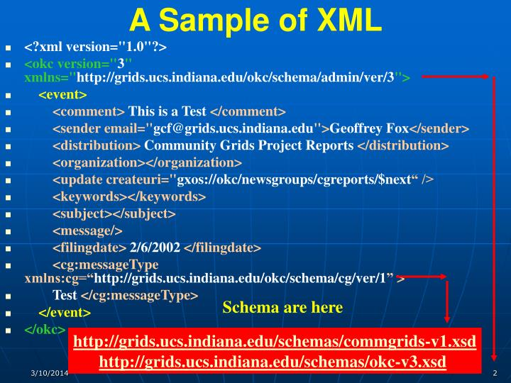 A sample of xml