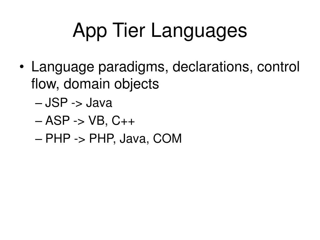 App Tier Languages