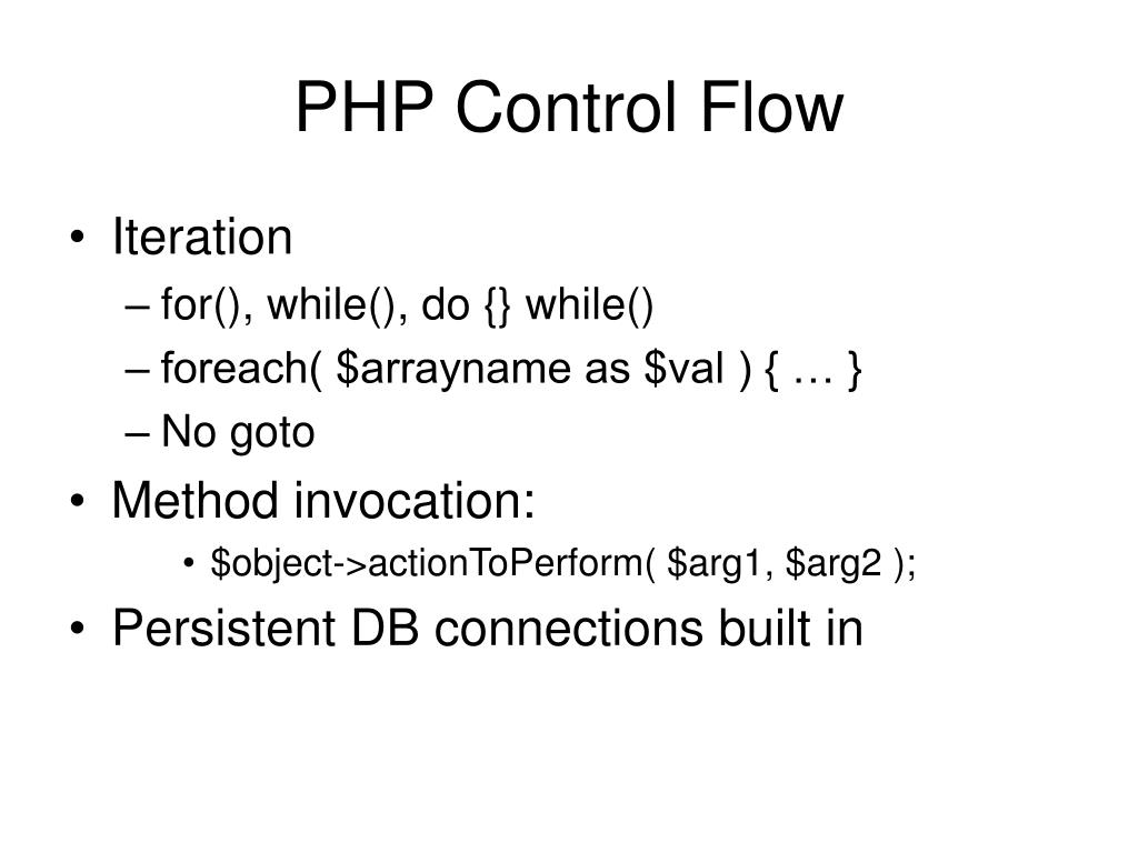 PHP Control Flow