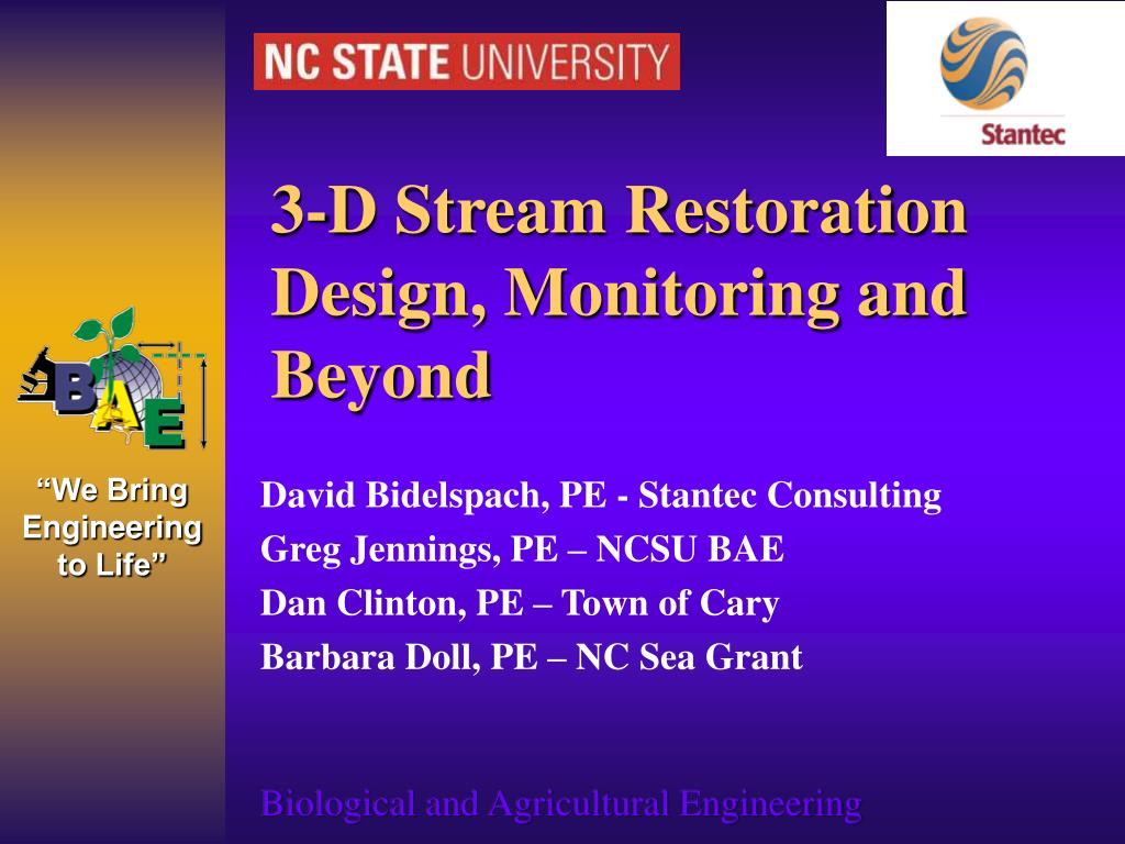3-D Stream Restoration Design, Monitoring and Beyond