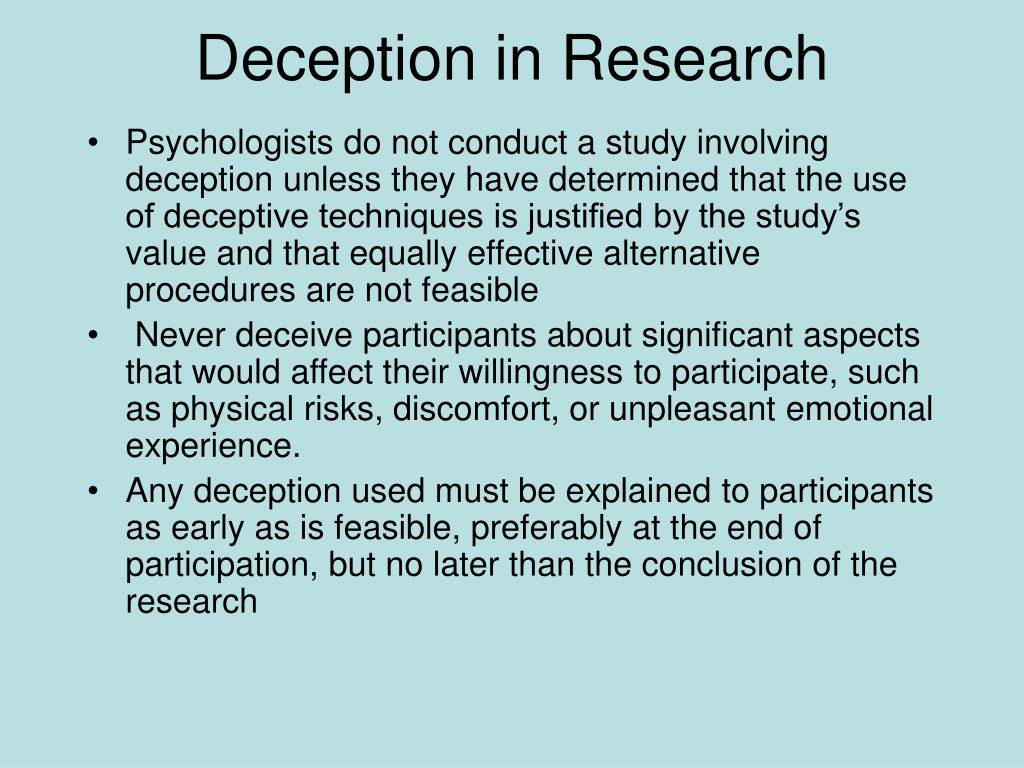 Deception in Research