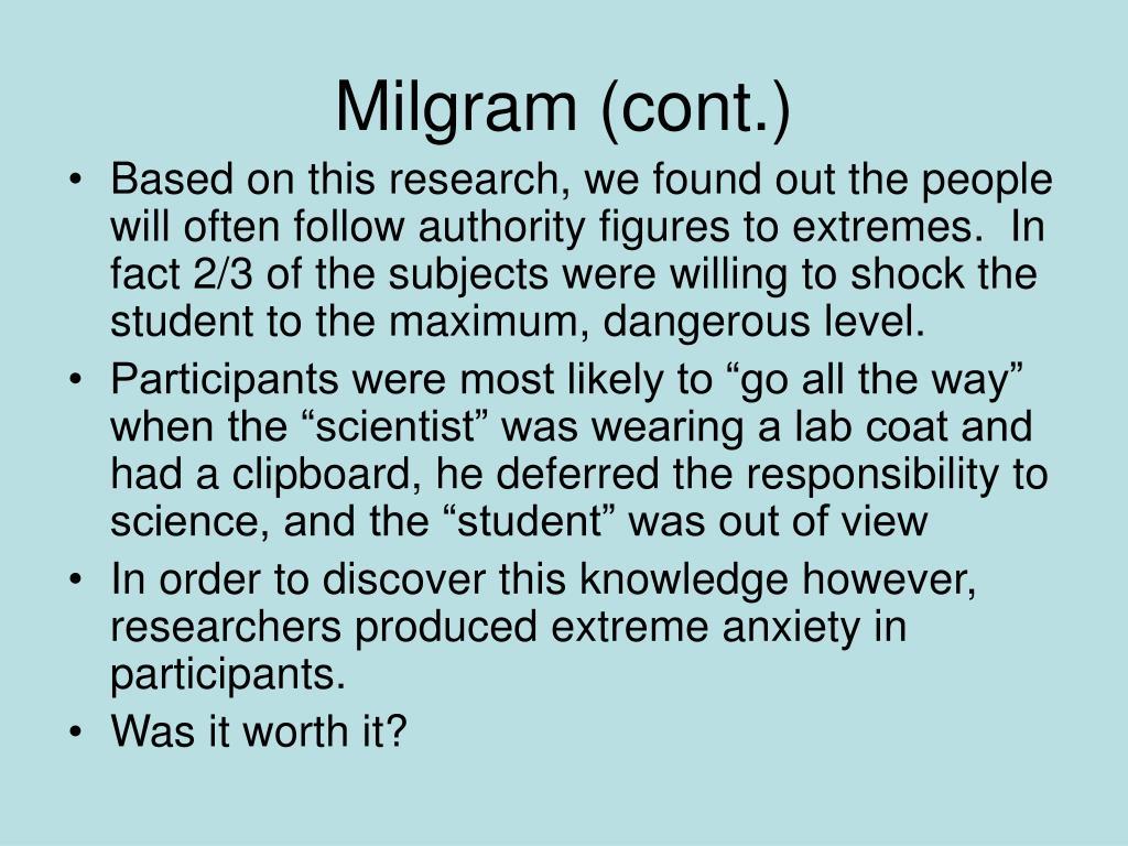Milgram (cont.)
