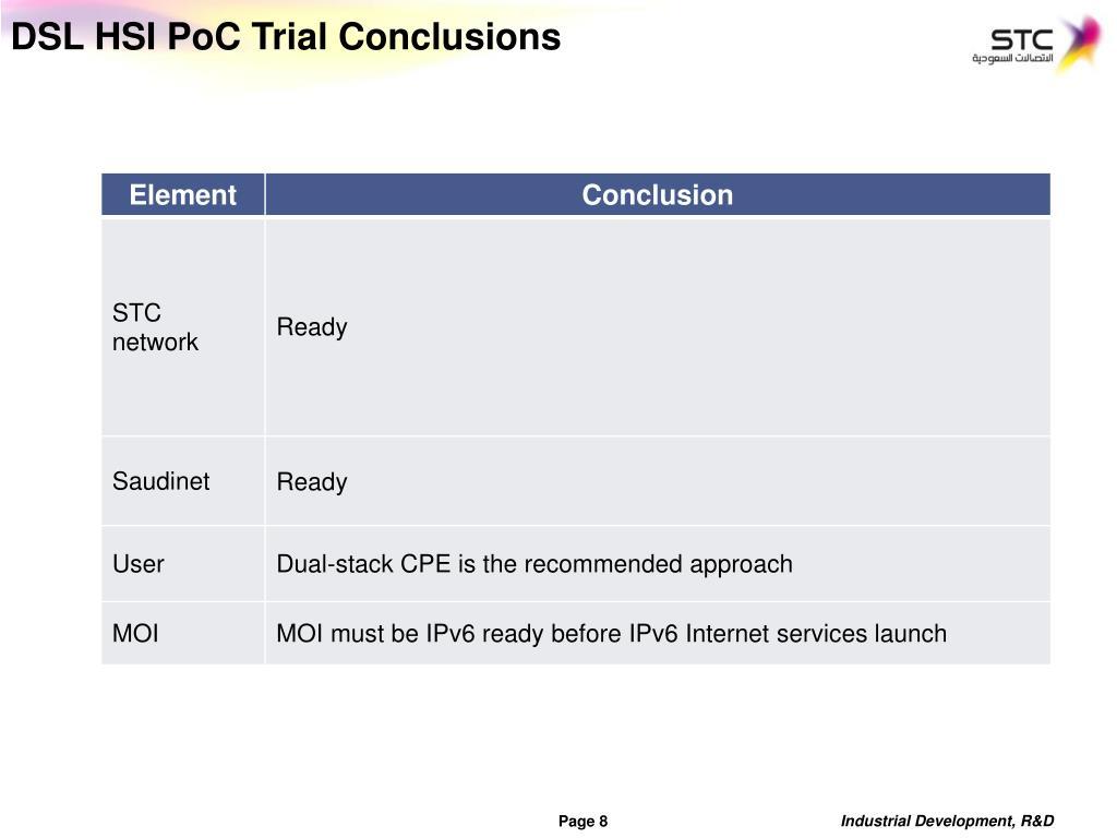 DSL HSI PoC Trial Conclusions