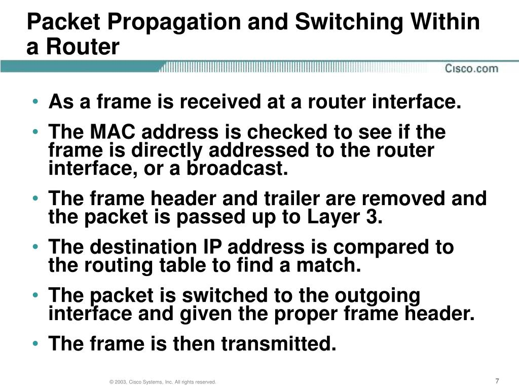 Packet Propagation and Switching Within a Router