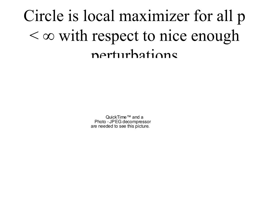 Circle is local maximizer for all p <