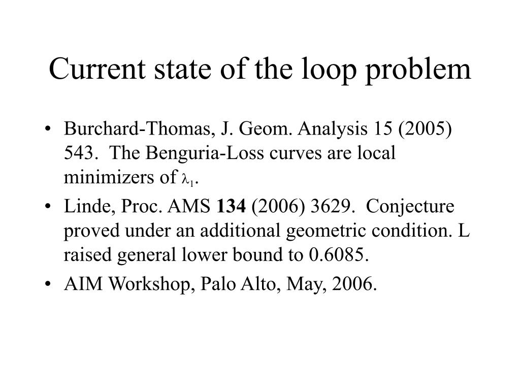 Current state of the loop problem