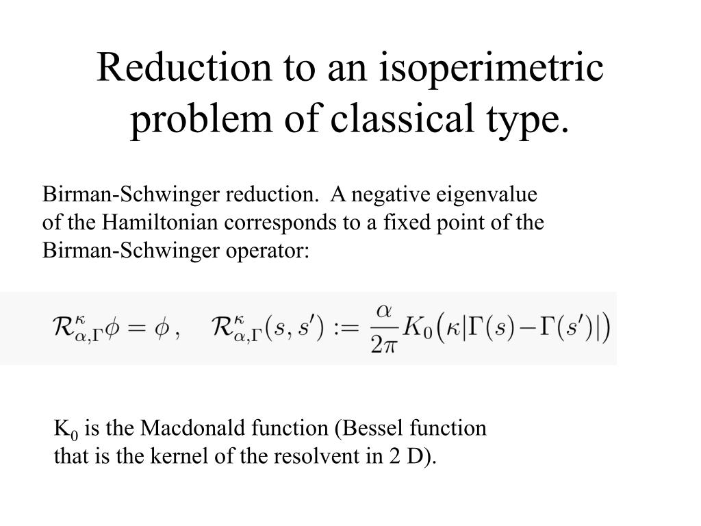 Reduction to an isoperimetric problem of classical type.