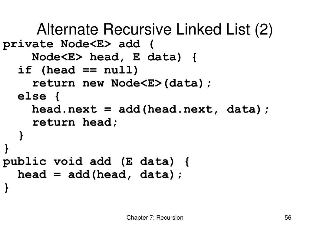 Alternate Recursive Linked List (2)
