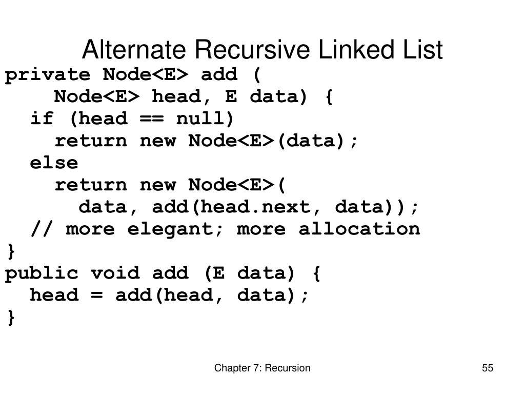 Alternate Recursive Linked List