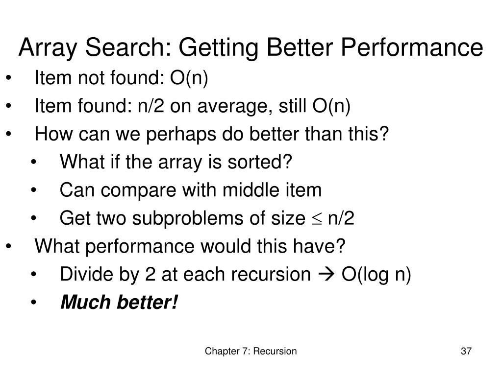 Array Search: Getting Better Performance