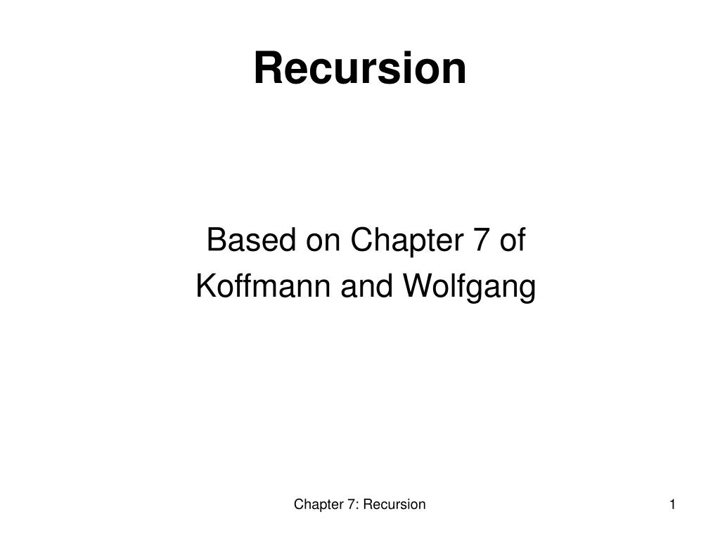 based on chapter 7 of koffmann and wolfgang