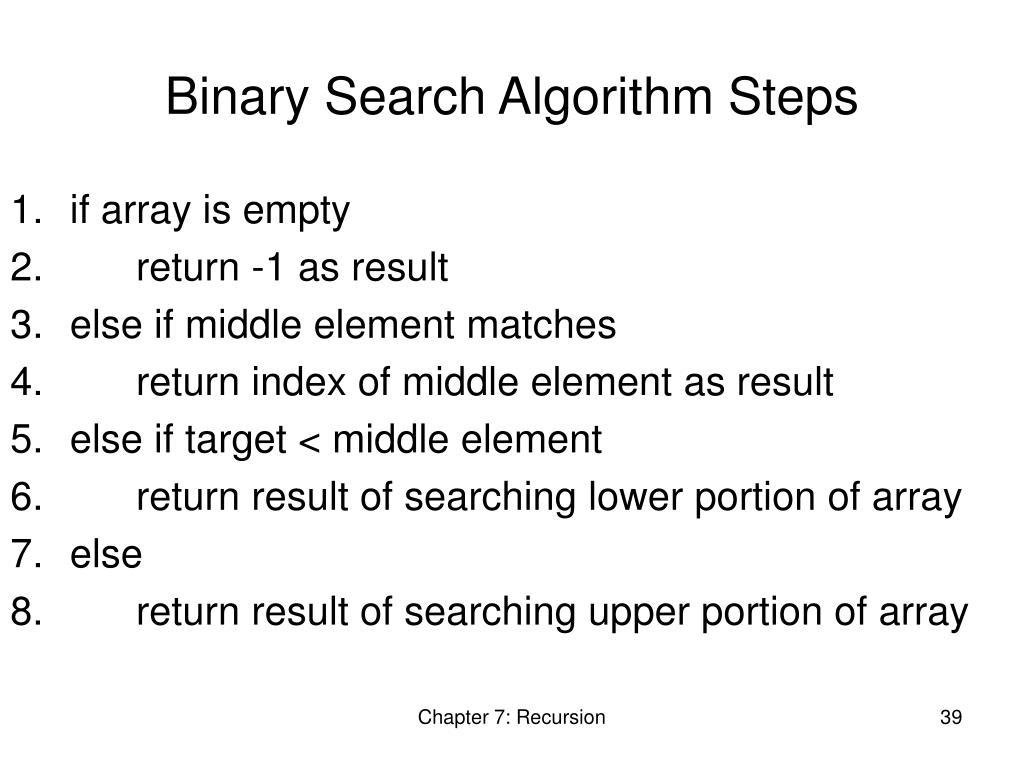 Binary Search Algorithm Steps