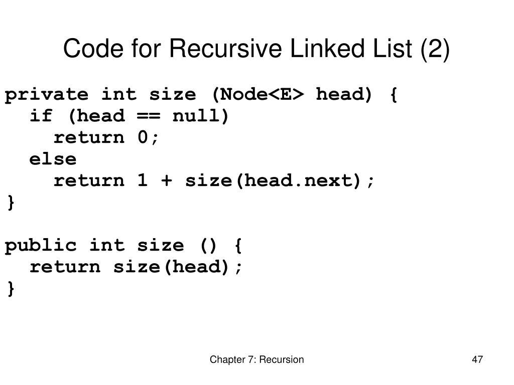 Code for Recursive Linked List (2)