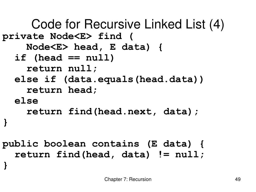 Code for Recursive Linked List (4)